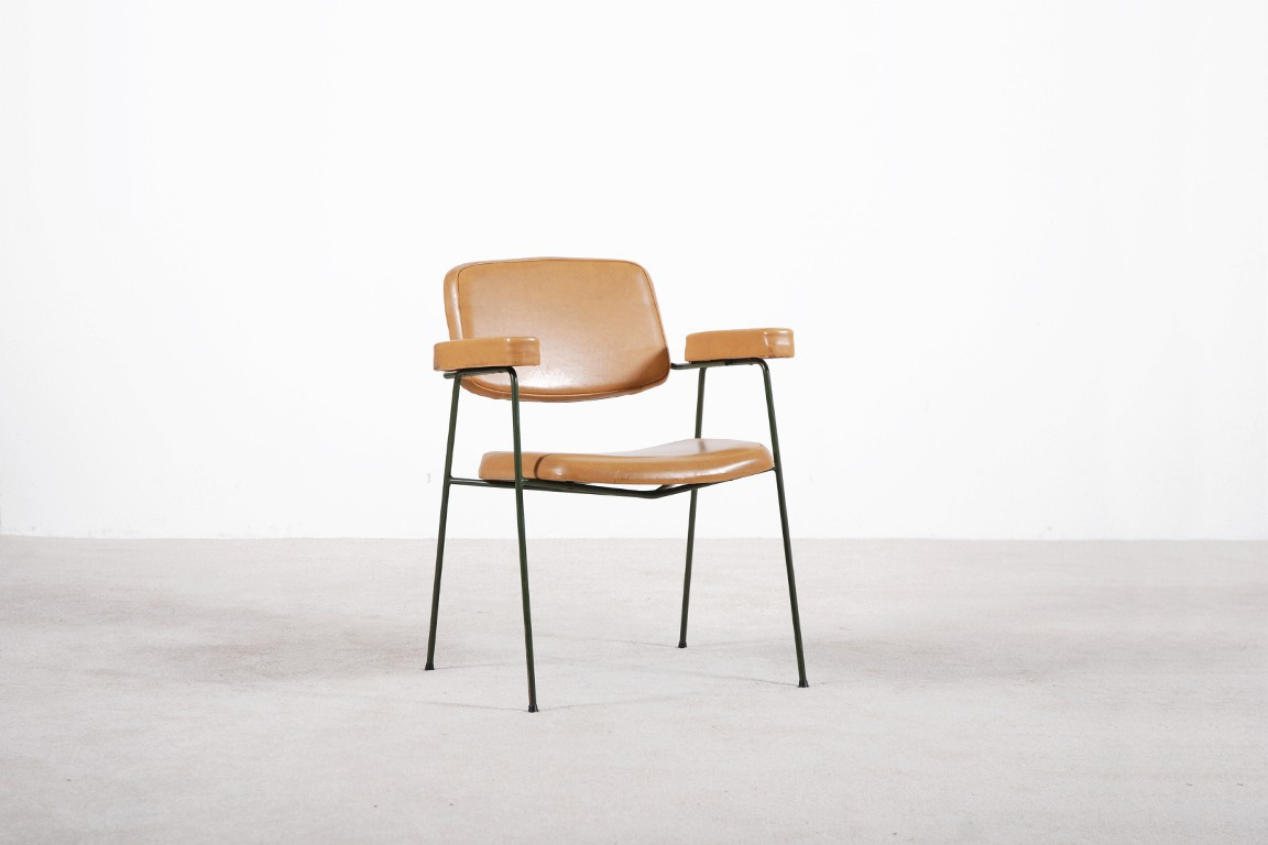 pierre paulin armchair cm197 thonet leather french 1958