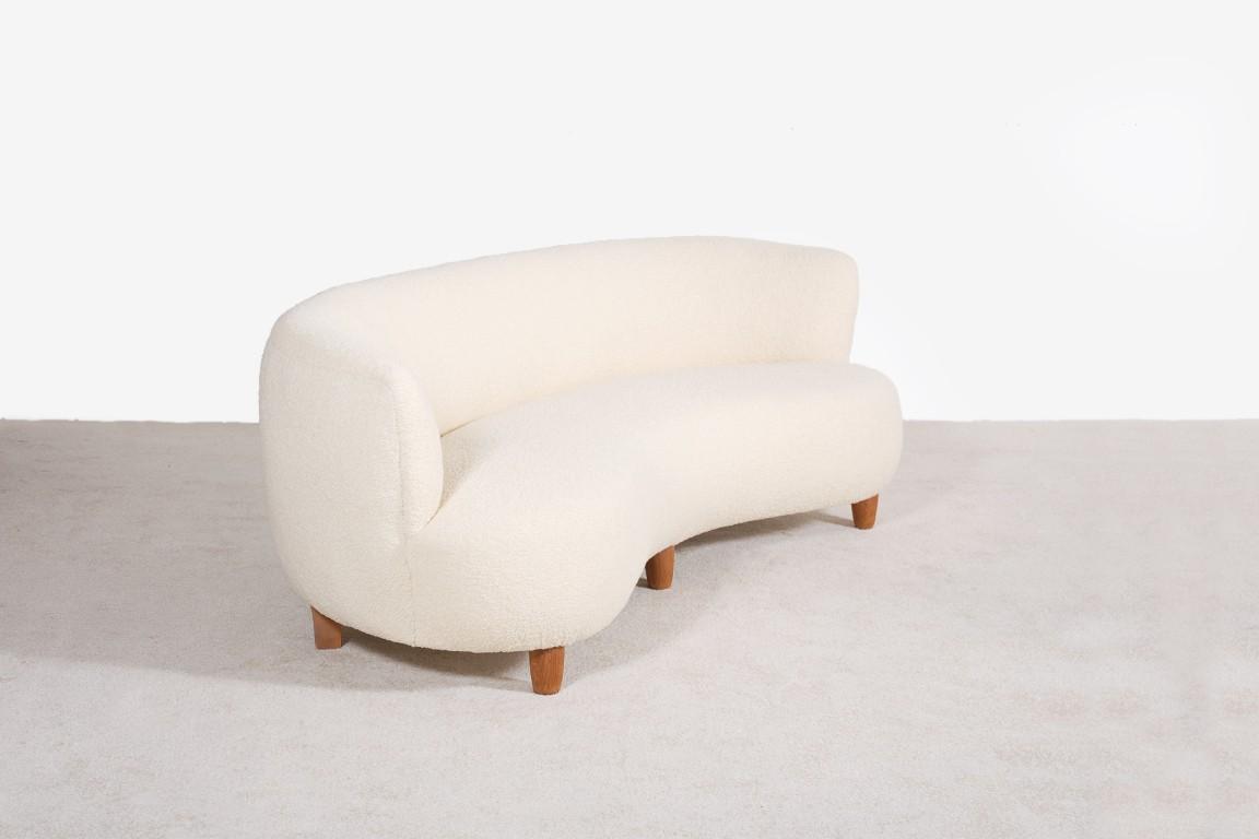 otto schultz canap courbe laine ivoire boet suedois 1940 - Canape Courbe