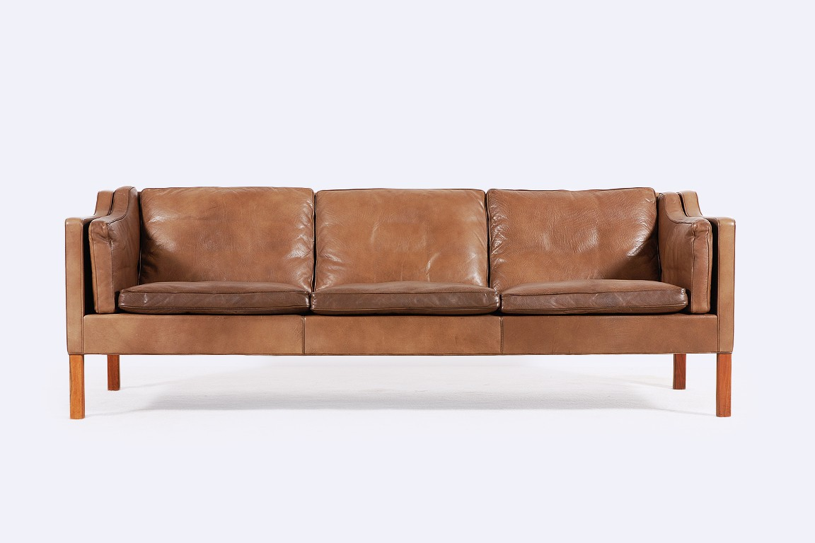 sofa borge mogensen leather teak 1962 danish fredericia 2213