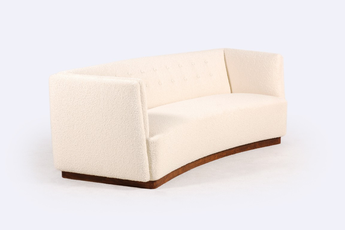 fritz hansen three seat sofa wool white 1930 1940 retro
