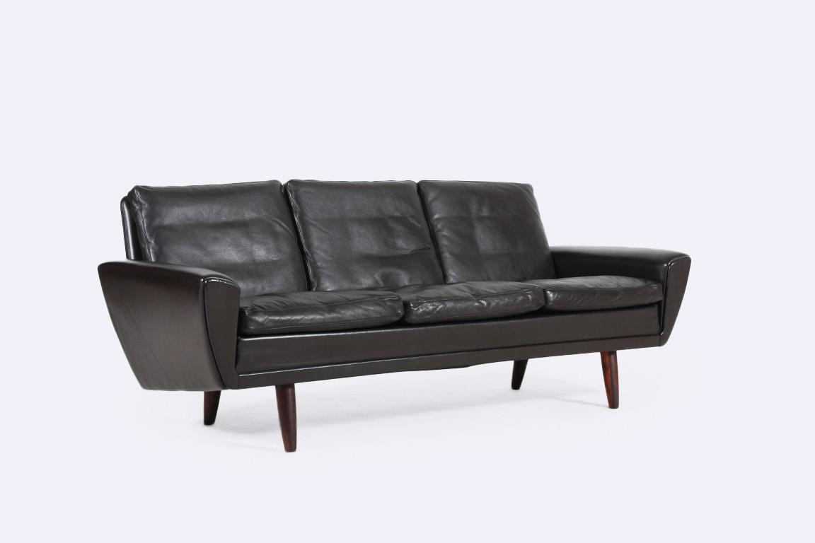 canap scandinave vintage cuir marron jasper. Black Bedroom Furniture Sets. Home Design Ideas