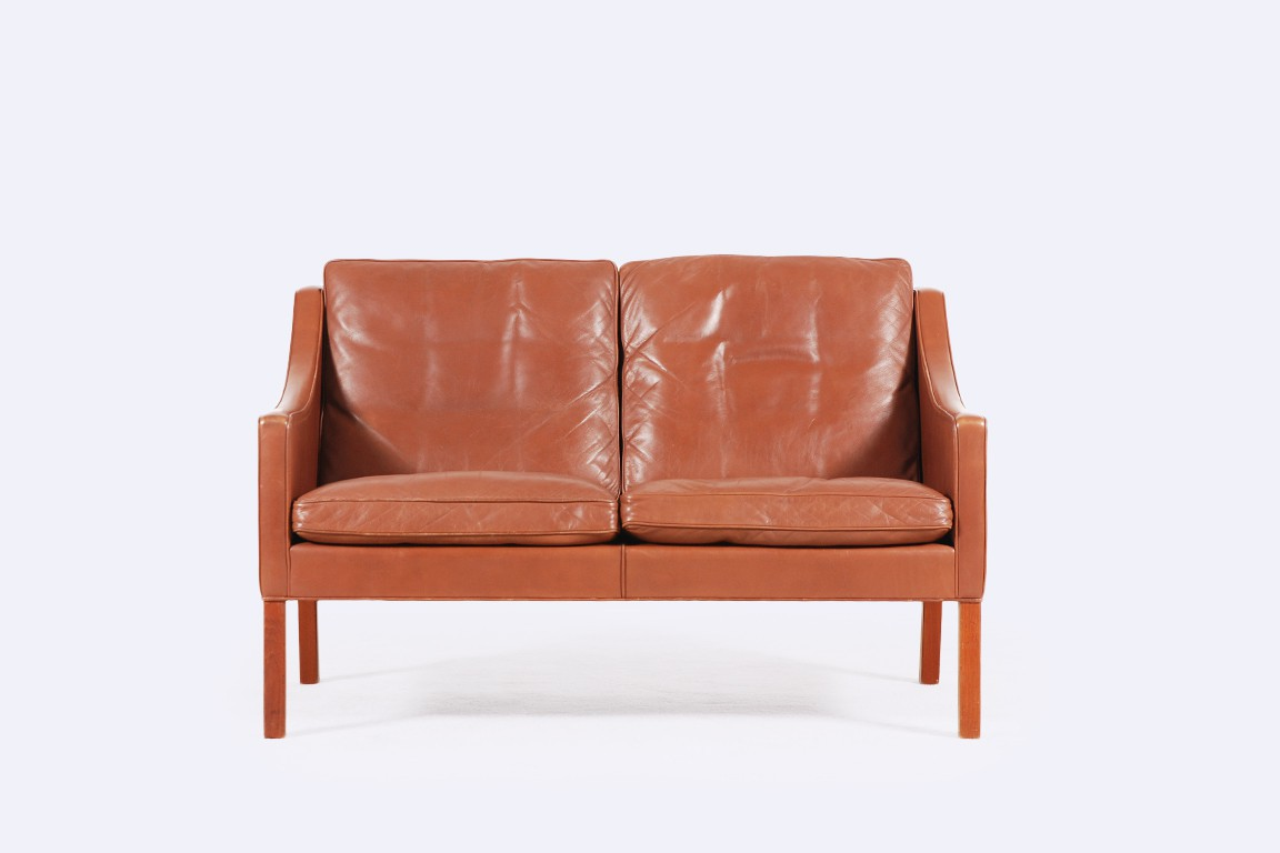 borge mogensen fredericia leather borwn sofa 2208 1960