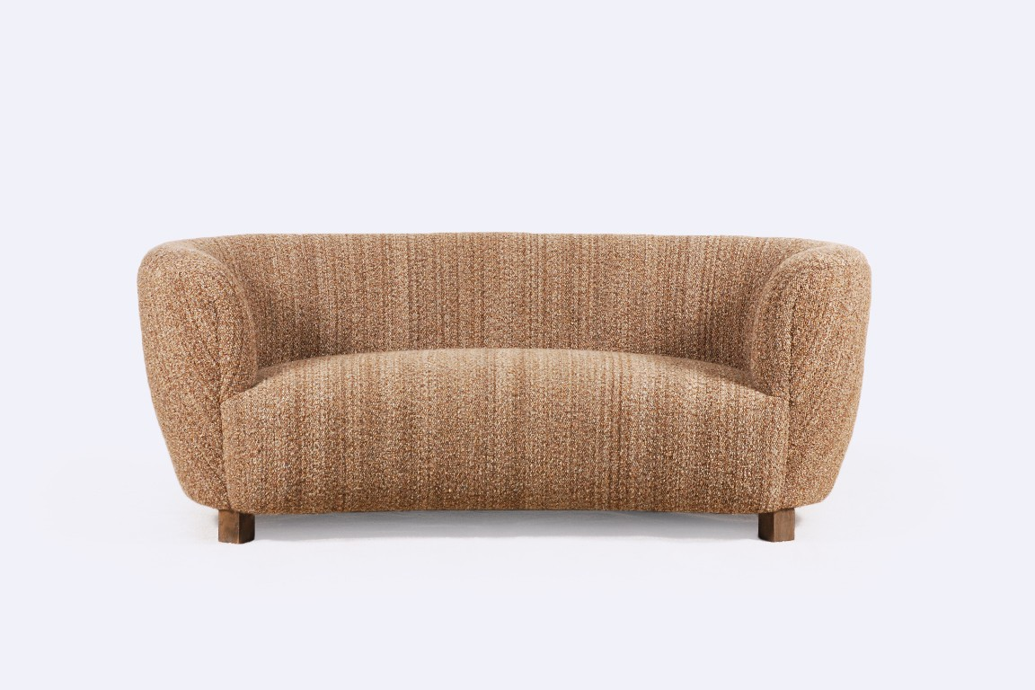 danish curved two seater sofa scandinavian brown 1940 1950