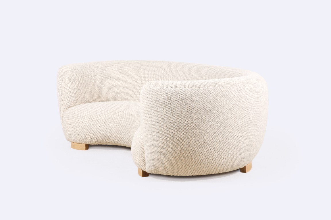 sofa danish curved wool scandinavian 1940 1950 oak