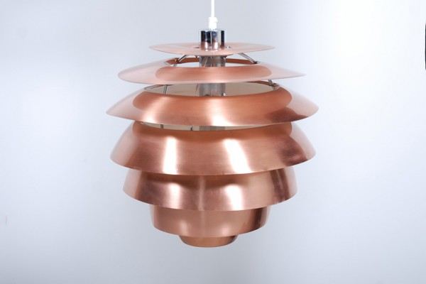 Stilnovo suspension lampe plafonnier cuivre vintage design