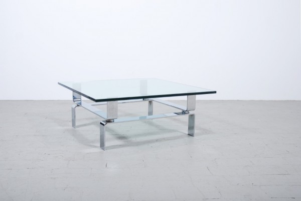 Coffee Table chromed base thick glass Top vintage 1970 1960