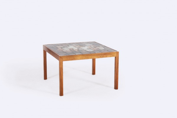 coffee table rosewood square ceramic danish vintage 1960