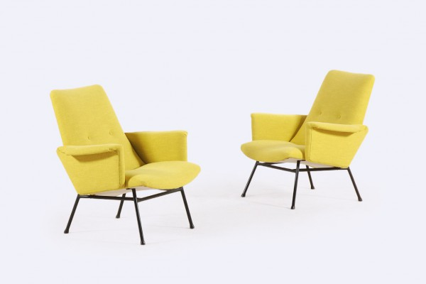 pierre guariche armchair sk660 yellow steiner french 1953