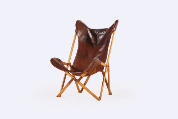 tripolina fenby folding chair usa leather cognac vintage