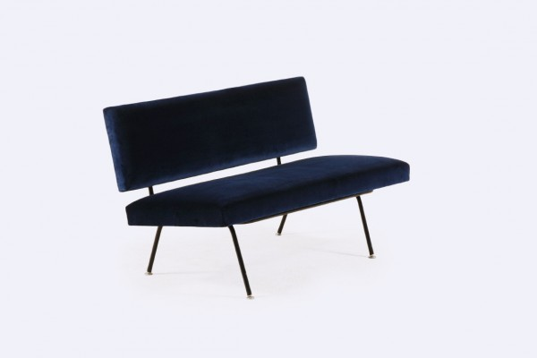 florence knoll international sofa bench blue velvet 1950