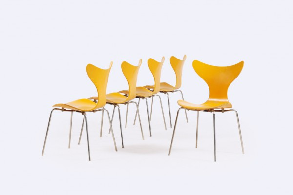 arne jacobsen 3108 lily yellow chair fritz hansen danish