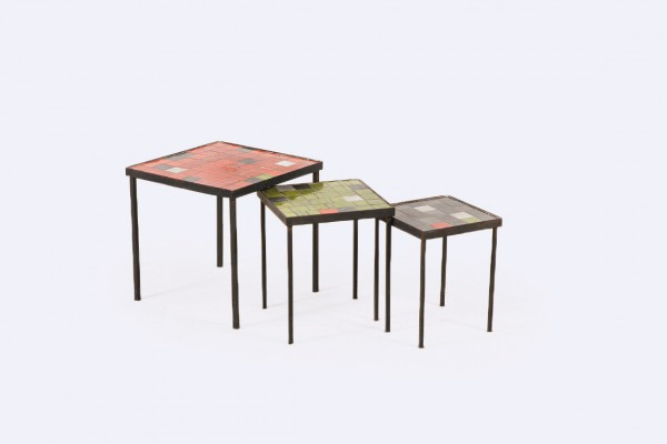 mado jolain rené legrand nesting tables ceramic french 1950