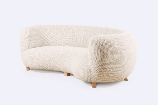 canapé danois scandinave courbé laine 3 places design 1940