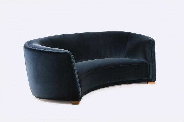 danish scandinavian curved sofa blue velvet kvadrat 1930