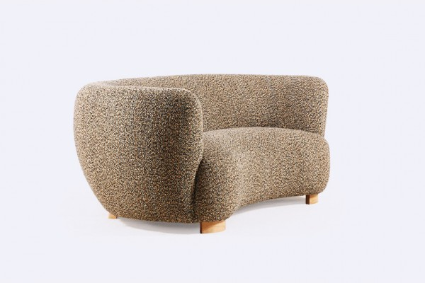 danish curved banana sofa two seat design 1940 1950 wool