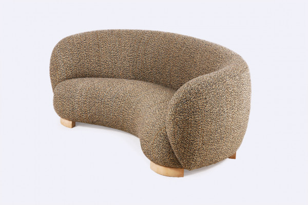 danish curved banana sofa three seat design 1940 1950 wool
