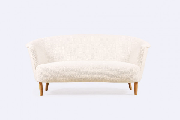 sofa danish curved two-seat wool nobilis settee 1960 1940