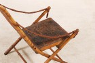 folding campaign chair france leather bamboo 19th 1800 1900